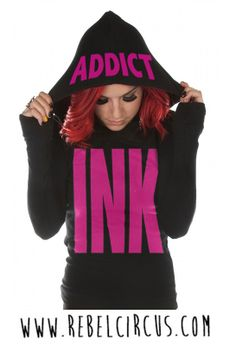 Big INK Women's Thermal Hoodie #pink #inkaddict #tattoo #inked #womenonly #thermal #hoodie #rebelcircus