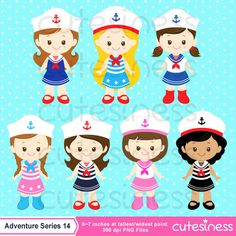 Nautical Clipart Nautical Girl Clipart Sailor by Cutesiness