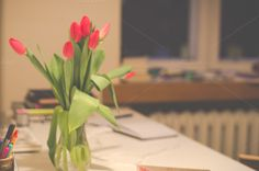 Tulips in a vase by LarisaDeac on Tulips, Photo Art, Artsy, Vase, Stock Photos, Table Decorations, Plants, Photography, Painting