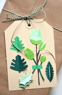 Botanical card handmade flowerbuds