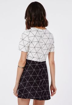 Missguided - Contrast Diamond Grid Skater Dress Monochrome