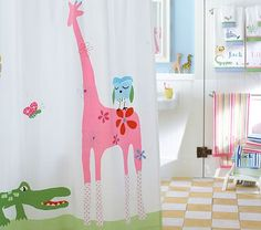 Possible kids' bathroom shower curtain @Sloane Archer - continues the safari theme?