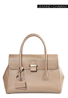Jeanne.Chavany signature: Miss Jade  Structured in Taurillon Matt Taupe calf skin  Discretly branded  With Gold plated hardware fastening Soft leather lining  Internal slide pocket & zip fastening pocket Comes with branded dust bag  Handcrafted in FRANCE