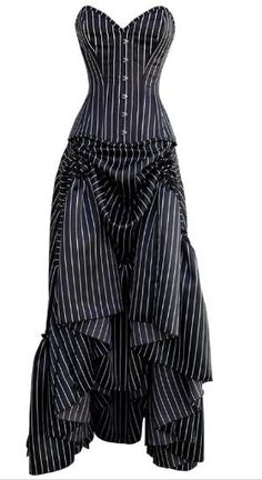 Pinstriped Goth / Steampunk strapless dress by rachelle.allen.3