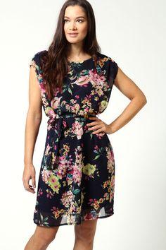 Bebe Floral Chiffon Tie Waist Dress