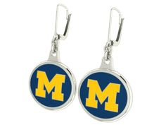 High quality Michigan Wolverines collegiate earrings using sterling silver and durable enamel. Double sided earring showing the Block M on both sides. Both sides are enameled in the Michigan Wolverines colors. $99