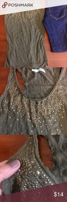 Embellished Olive Tank Olive racerback tank with bronze embellishment at top. Perfect condition other than 2-3 loose embellishments. Looks great on its own for a casual weekend activity or under cardigan for work wear. Maurices Tops Tank Tops