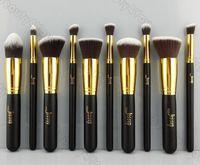 Nuevos 10pcs profesionales Negro / Fundación Oro ruborizan cepillo líquido Kabuki Brochas herramientas conjunto