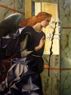Ange annonciateur et vierge annonciée (détail) GIOVANNI BELLINI (Venezia, 1433 circa – Venezia, 26 novembre 1516)    #TuscanyAgriturismoGiratola