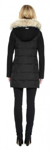 546e6793cea RAFAELLA-C Wool and puffer coat with fur trim in Black Ribete De Piel,