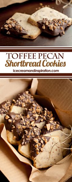 Buttery shortbread cookies with chopped pecans, dipped in chocolate and sprinkled with toffee bits. This recipe is adapted from Coffee Toffee Shortbread in Sally's Cookie Addiction. Perfect cookies for baby showers, weddings, and Christmas! Buttery Shortbread Cookies, Toffee Cookies, Toblerone, Curry D'aubergine, Just Desserts, Dessert Recipes, Wedding Cookie Recipes, Chocolate Biscuits, Baby Cookies