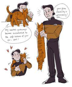 data and spot :] Star Trek Meme, Star Trek Data, Star Trek Tos, Star Wars, Watch Star Trek, Starship Enterprise, Fictional World, To Infinity And Beyond, Halloween Cat