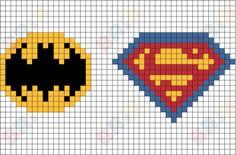 Batman and Superman Pixel Art Easy Cross Stitch Patterns, Simple Cross Stitch, Cross Stitch Designs, Beaded Cross Stitch, Cross Stitch Embroidery, Modele Pixel Art, Pixel Drawing, Graph Paper Art, Motifs Perler