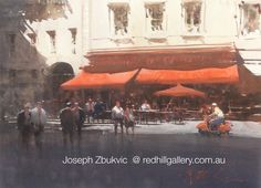 """Joseph Zbukvic - Red Hill Gallery, Brisbane. Watercolour painting, """"The Red Awning, Paris"""". redhillgallery.com.au"""