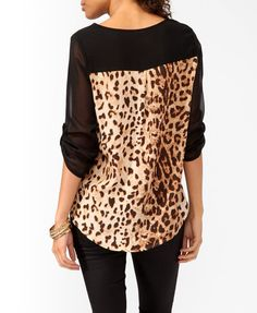 Leopard Contrast High-Low Top | FOREVER21 - 2025922824