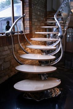 What better way to step forward and take control of your surroundings than to create an awesome interior design. We gathered some incredible examples of futuristic interior designs and hope you feel even more eager to work on your home. Stairs And Staircase, Take The Stairs, Modern Staircase, House Stairs, Grand Staircase, Stair Railing, Staircase Design, Banisters, Steel Stairs