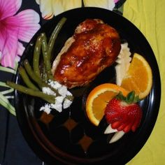A pineapple glaze that tastes truly Hawaiian flavors this chicken while it bakes by itself in the oven. Great with rice, a green vegetable, and a salad of crisp greens. - Zippy Pineapple Baked Chicken Breasts