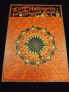 Rare & Unique 1935 Vintage Halloween Zingo Fortune Stunt Board Game Decoration