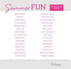 Personalization ideas for Summer Fun. Thirty-One