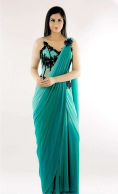 Blue Ombre Saree Gown