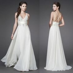 Discount A-line V-neckline And Bust Which Features Floral Beading Throughout Flowy Overlay Floor Length Chiffon Beach Wedding Dress SD15036 [WEDD-041WS],Cheap Wedding Dress 1 - $199.99 - www.DressesLocker.com
