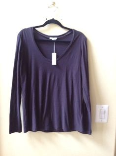 """NWT STANDARD JAMES PERSE """"FIG"""" COTTON/MODAL LONG SLEEVE BLOUSE SIZE 3-$115 #JamesPerse #Blouse"""