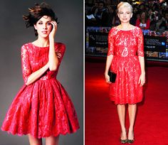 red lace dress by Erdem | Alexa Chung & Michelle Williams | MTV Style.