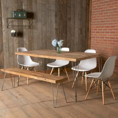 Mid Century styled dining table and bench w/ hairpin legs, reclaimed wood.  Can be custom made in any size