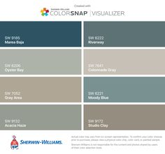 I found these colors with ColorSnap® Visualizer for iPhone by Sherwin-Williams: Marea Baja (SW 9185), Oyster Bay (SW 6206), Gray Area (SW 7052), Acacia Haze (SW 9132), Riverway (SW 6222), Colonnade Gray (SW 7641), Moody Blue (SW 6221), Studio Clay (SW 9172).