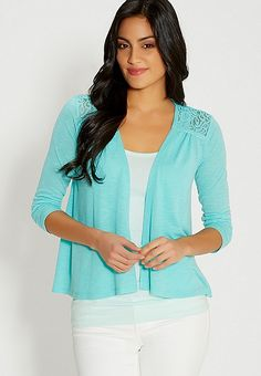 lightweight cardigan with lace in sea salt green | maurices
