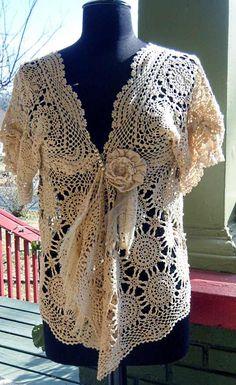 Cream Gypsy Lace Vintage Doily Flower Crochet by BohemianRewind, $80.00