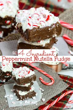 Peppermint No Bake Nutella Fudge recipe - Only 4 Ingredients! An easy No Bake Peppermint Fudge with nutella, candy cane and a white chocolate layer topping. Includes how to make instructions for No Bake Fudge. Healthy swap - made with coconut oil and without condensed milk. The best holiday freezer fudge! Vegetarian, Gluten Free/ Runing in a Skirt #Christmas #fudge #peppermint #healthyliving #recipe