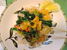 The Briny Lemon: Chicken and Broccolini in Curry Peanut Sauce