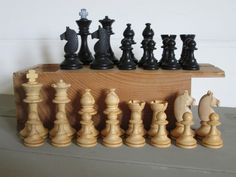 Vintage wooden chess set cavaliers visses made in France with wooden box by florencemabel on Etsy