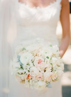 pretty pastel bouquet featuring garden roses and ranunculus by Cherries