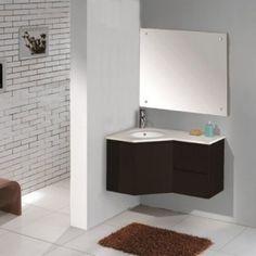 Modern Black Contemporary Corner Bathroom Vanity With Sink Consoles And Mirror , Corner Bathroom Vanity for Small Bathroom In Bathroom Categ...