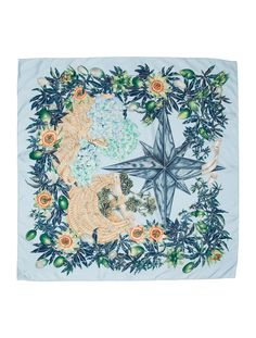 Sky blue and multicolor Hermès woven printed silk scarf with  Passiflores   motif throughout and 9aaa1d52834