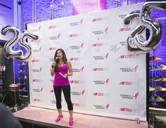 "Just me on the PINK carpet telling the NBGNO girls about our ""dedication wall"" which they were about to be a part of. #NBGNO @newbalance"