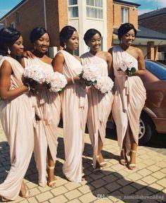 One Shoulder Ruched Ruffle Long Sheath Chiffon Bridesmaid Dresses 2016 Sexy…