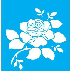 Stencil-para-Pintura-20x15-Rosa-Flor-LSM-027---Litocart                                                                                                                                                                                 Mais Letter Stencils, Stencil Templates, Stencil Patterns, Stencil Diy, Stencil Designs, Stenciling, Rosa Stencil, Old School Rose, Plaster Art