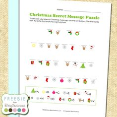 Christmas Secret Message Puzzle FREEBIE from BitsyCreations