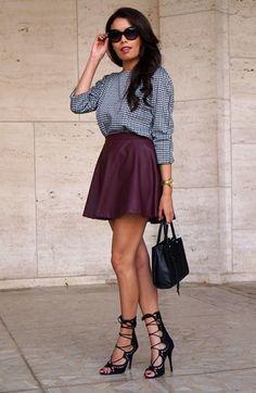 Leather skirt Street Style