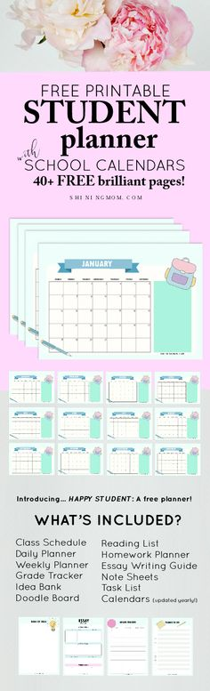 free student planner and 2018-2019 calendar
