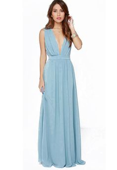 Blue Deep V Neck Midriff Maxi Dress - Sheinside.com