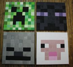 Minecraft, set of 4 canvas art.  $80 for 4, $25 individually.
