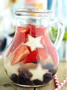 july 4th Sangria.  Red, White, and Blue Sangria    Ingredients:        Strawberries, sliced      Blueberries      Pineapple, cut into star shapes      2 bottles dry white wine      1 cup Triple Sec      1/2 Cup berry-flavored vodka      1/2 cup fresh lemon juice      1/2 cup simple syrup    Combine the ingredients in a large pitcher and stir. Chill in the refridgerator for at least four hours.