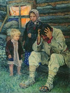Misery, 1919  Nikolay Petrovich Bogdanov-Belsky (6 Dec 1868 Shitiki, Smolensk Governorate – 19 Feb 1945 Berlin) was a Russian painter.