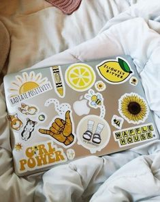 laptop stickers that remind me to stay positive and love life. #yellow