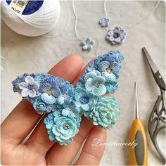 Crochet Brooch in butterfly shape + Tutorial Instructions