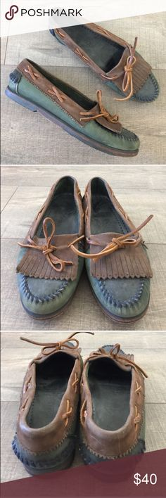 Cole Hann Brown&green leather fringe loafers 8 Gently worn , size 8 , comfortable, leather Cole Haan Shoes Flats & Loafers